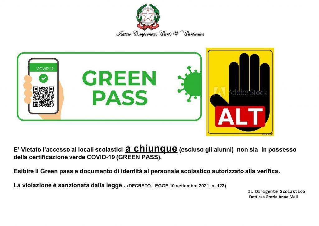 Vietato l'ingresso senza green pass